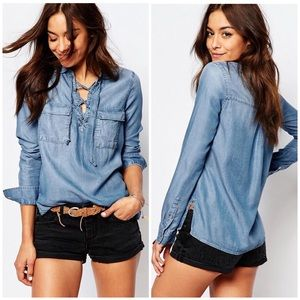 ABERCROMBIE & FITCH LACE-UP LIGHT WASH DENIM SHIRT